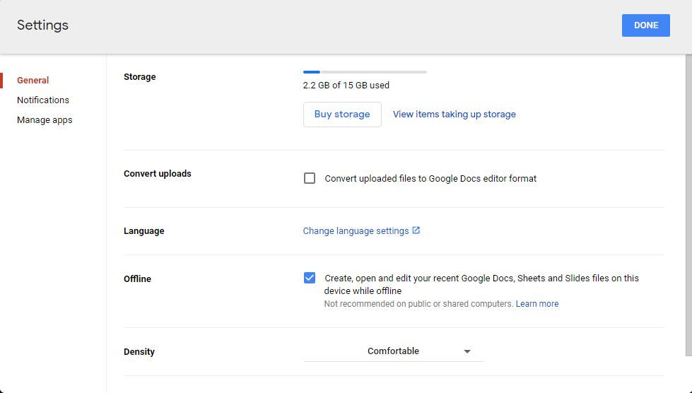 Google docs offline settings
