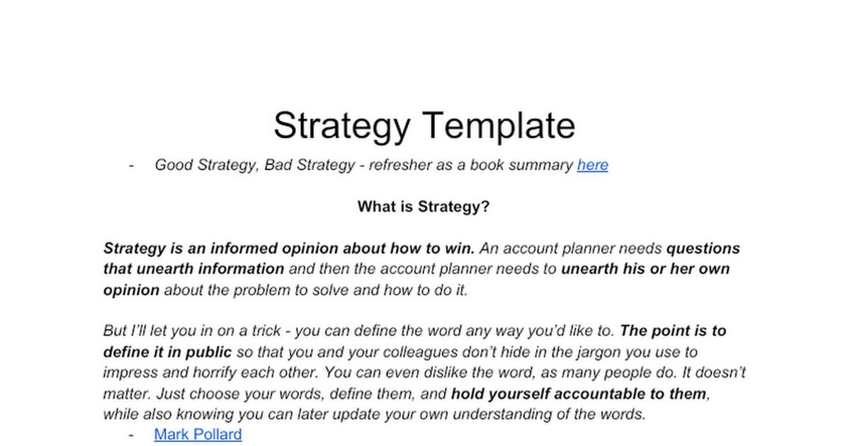 Good Strategy, Bad Strategy - Batko Strategy Template