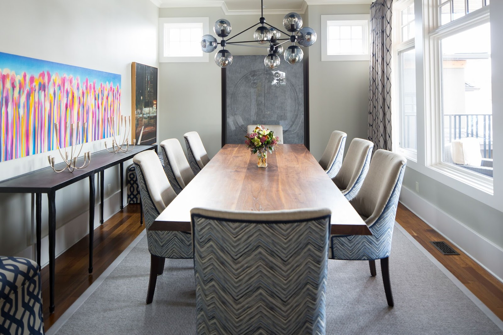 leanne bunnell interiors modern mixed with traditional design formal dining room art calgary