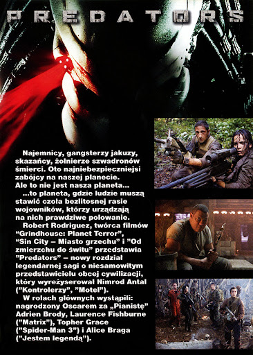 Tył ulotki filmu 'Predators'