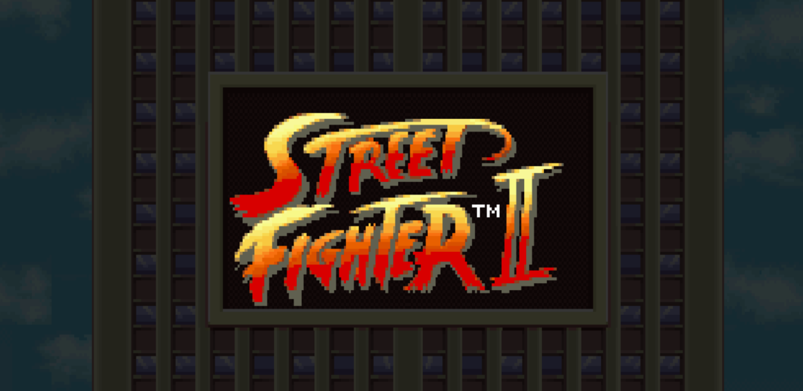 The Street Fighter II logo seen in front of a building