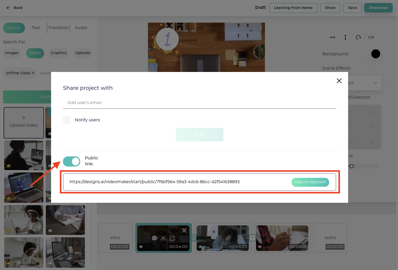 How to share your video projects in Videomaker - Share publicly through unique project link