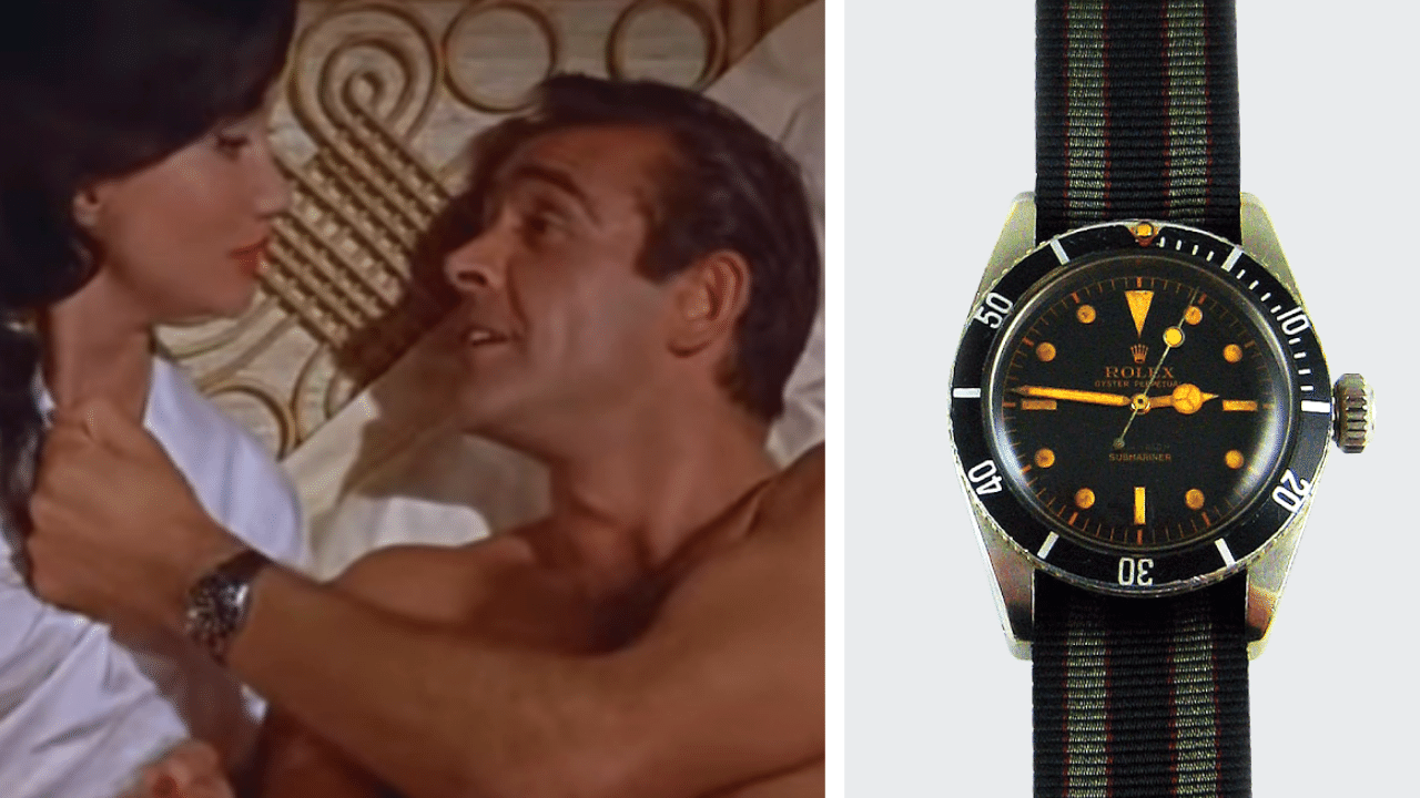 2 Photos, first of Sean Connery in Dr. No and the second of the Rolex James Bond Submariner