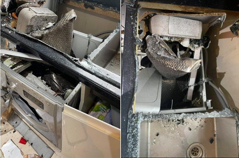 Máy giặt nổ như bom khi đang vận hành, phá hủy cả căn bếp - 2