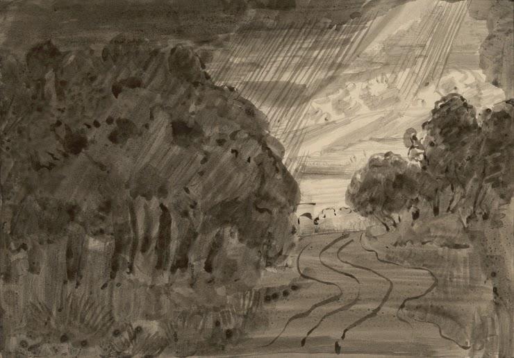 Jean Verkade (Zaandam (Pays-Bas), 1868 ; Beuron (Allemagne), 1946) Paysage sous la pluie, 1910 Encre de Chine, 14,5 x 21 cm Coll. Musée de Pont-Aven, inv. 1989.9.2 © Musée de Pont-Aven