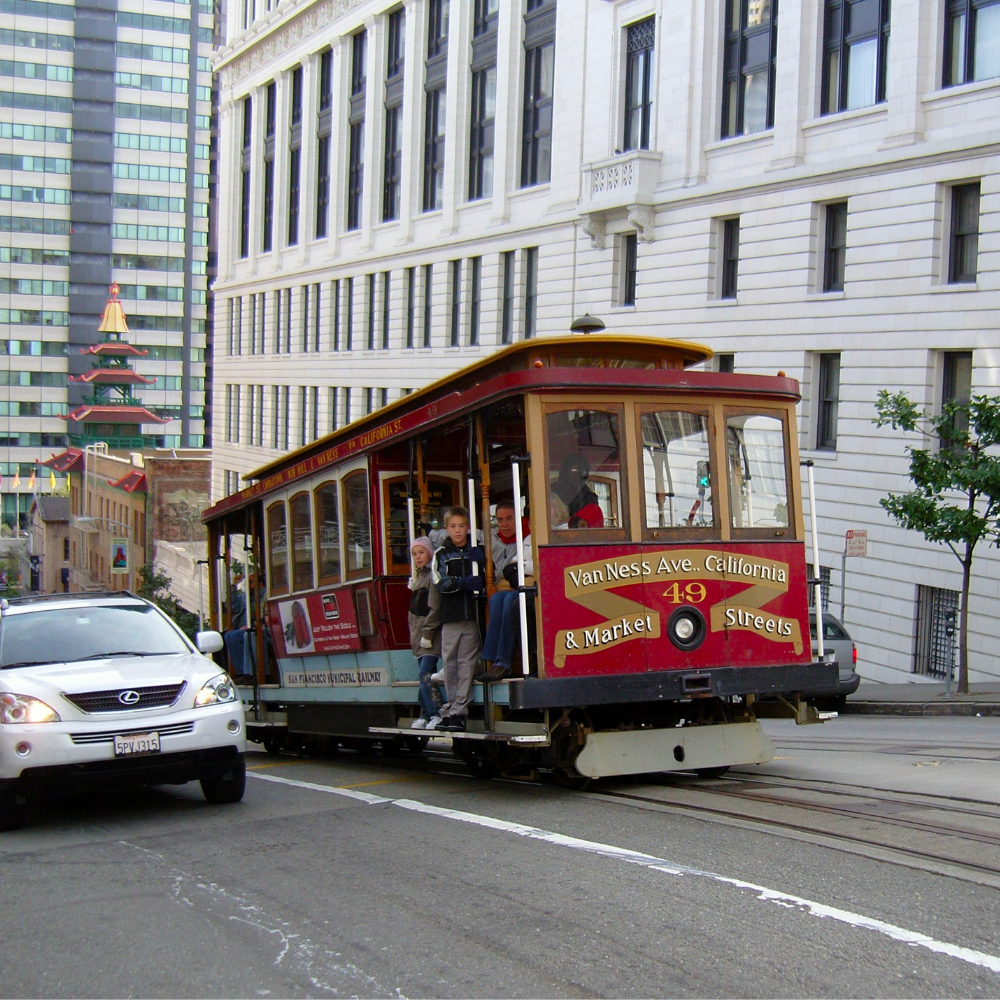 The cable car in Nob Hill