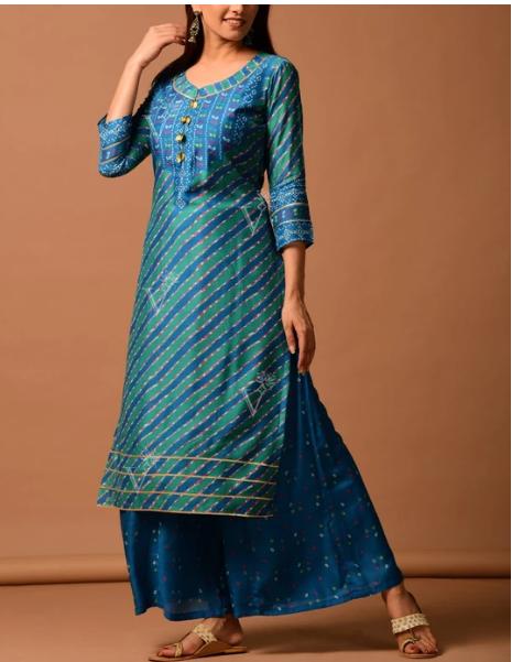 Peacock Blue Silk Bandhani Kurti Suit for women