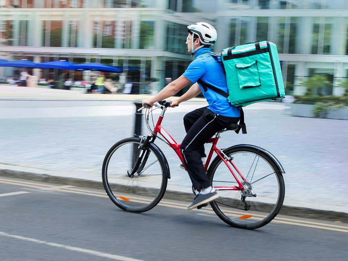 A U.S. delivery bike rider
