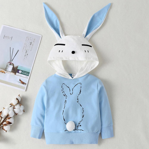 Toddler Blue Bunny Hoodie with Ears & Tail