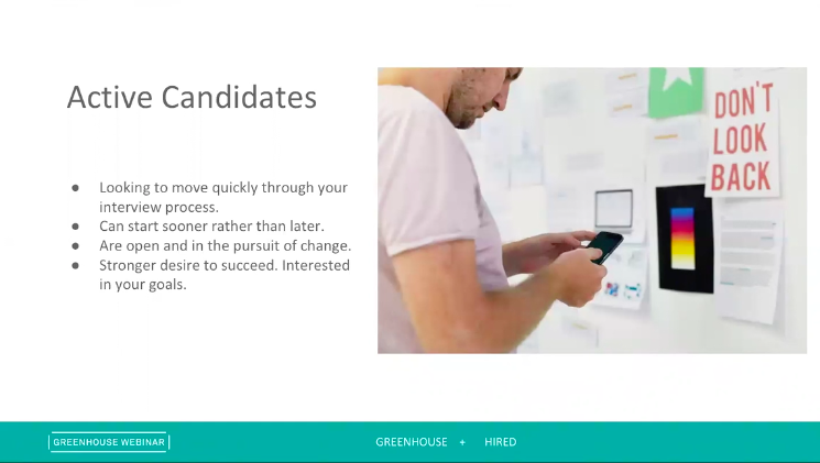 Sample slide on on active candidates from the Digging Deep: Growing Responsibly webinar