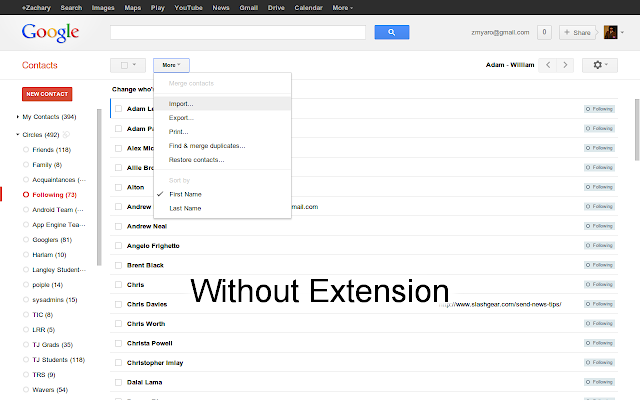 Compact Density for Google Contacts chrome extension