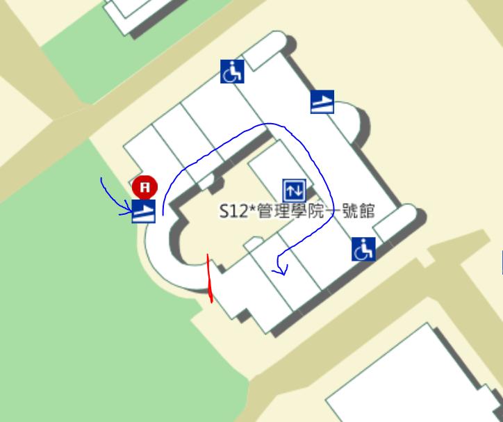 台大管理學院的俯視圖,可以看見無障礙設施的銜接動線很不順暢。