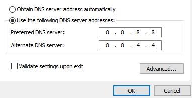 Preferred DNS server 8.8.8.8 Alternate DNS server 8.8.4.4