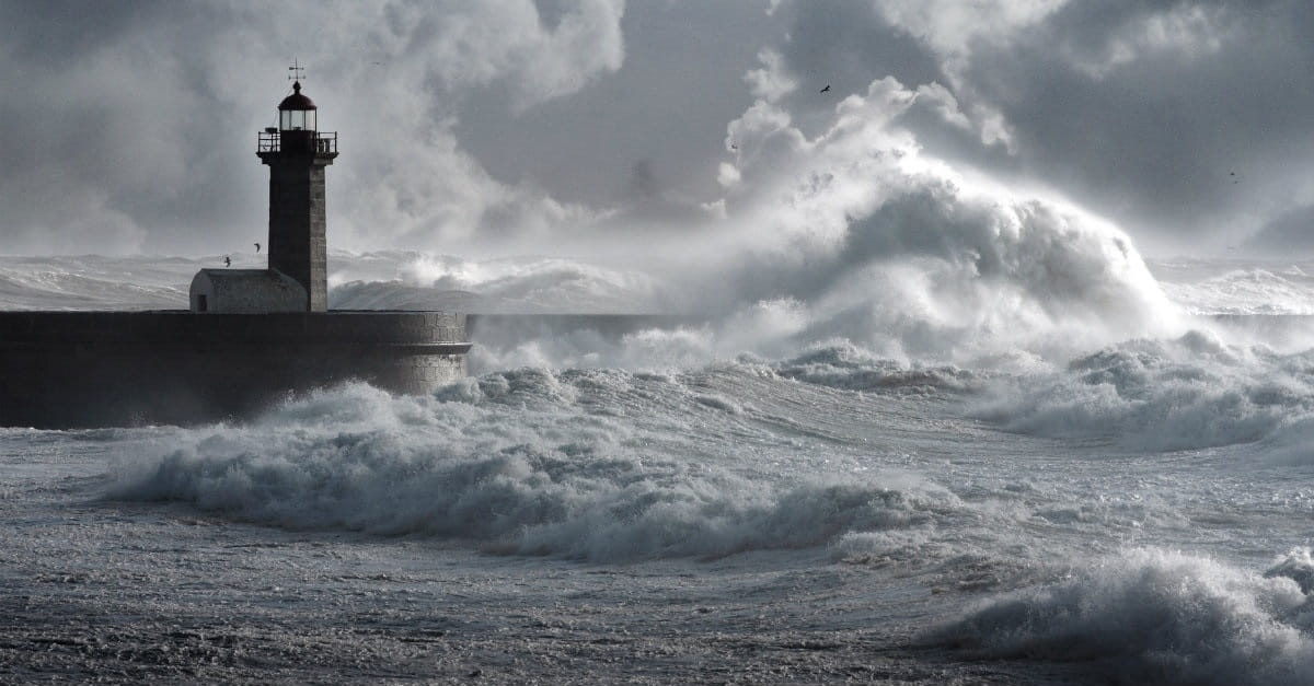 lighthouse in a rough sea