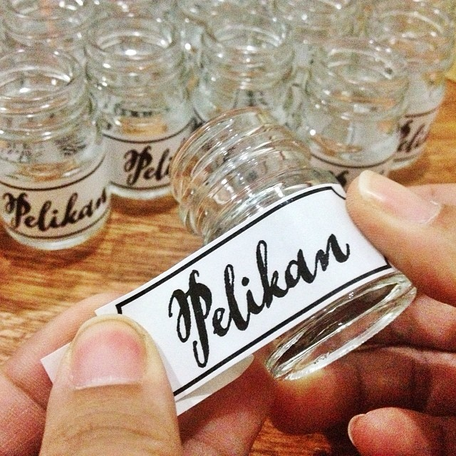 A closeup of Pelikan jar label stickers by katrina.alana of Flickr
