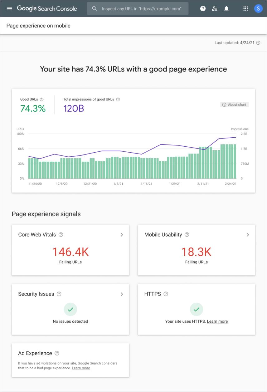 обновление Page Experience - новый отчет в Google Search Console