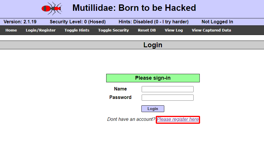 Ettercap Arp poisoning attack [Part 2] - Metasploitable 2 - Mutillidae: create a new account. Source: nudesystems.com