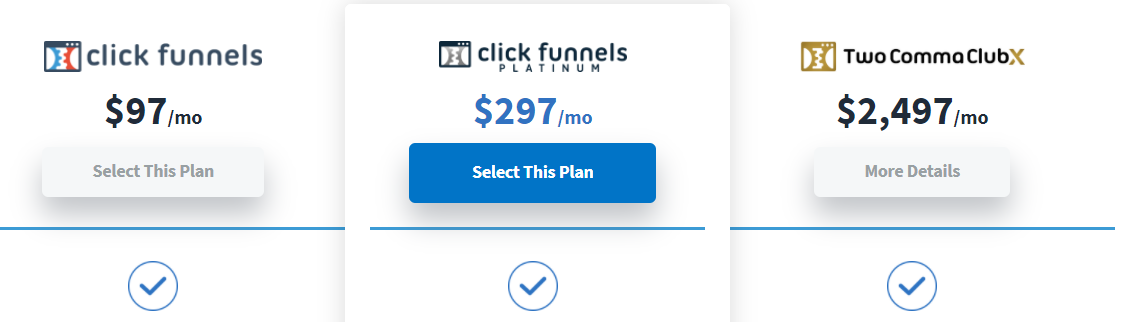 ClickFunnels different pricing points