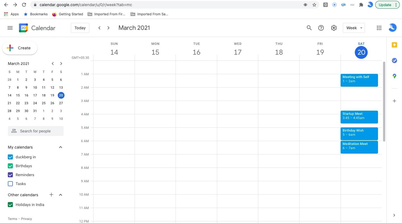 create new meeting in Google calendar