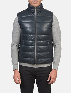 Reeves Blue Leather Puffer Vest
