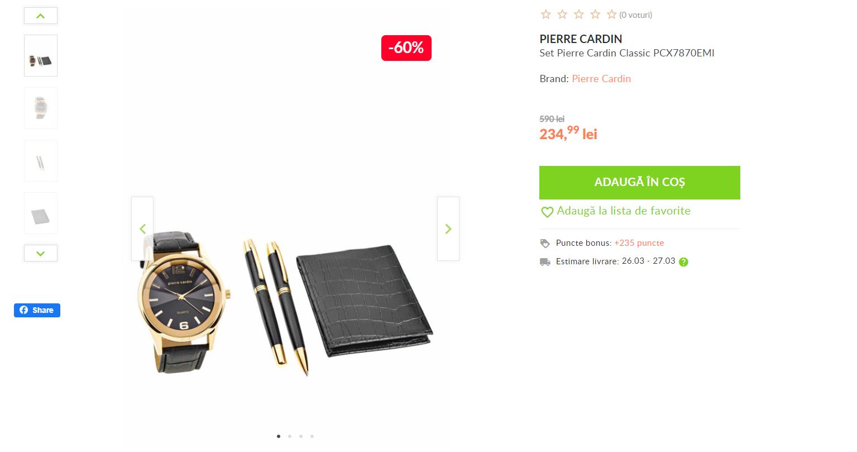 Pagina de promovare a unui pachet de accesorii pentru un business man: ceas, stilouri si portofel de piele.