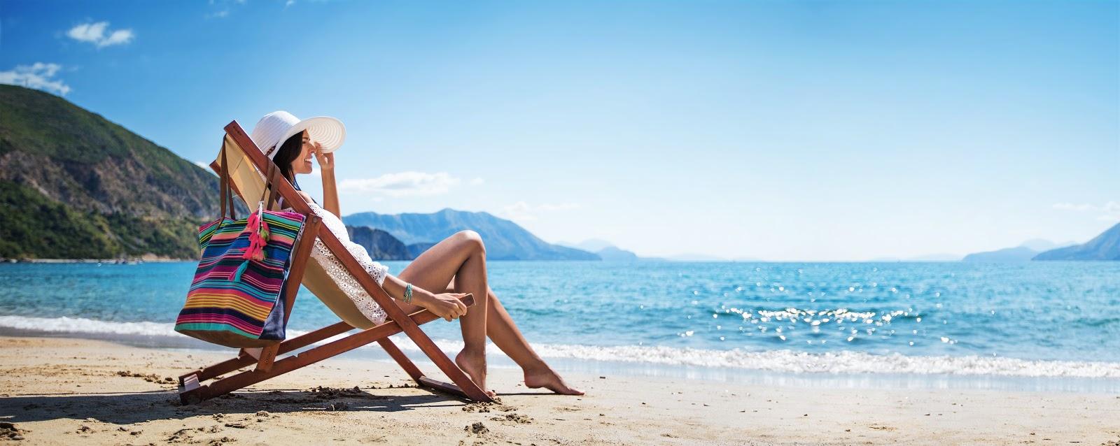 A woman relaxing on a beautiful beach