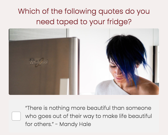quiz question for which quote do you need taped to your fridge