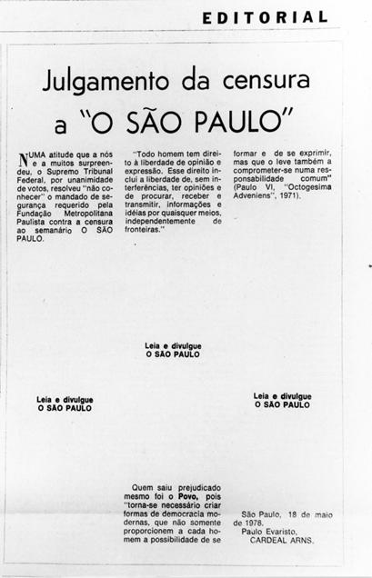 Espaços em branco na página do jornal O São Paulo indicam a censura sofrida no editorial.