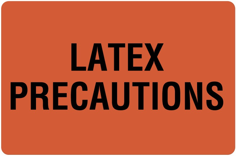 Latex Precaution Label