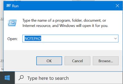 Starting Notepad using Run Command