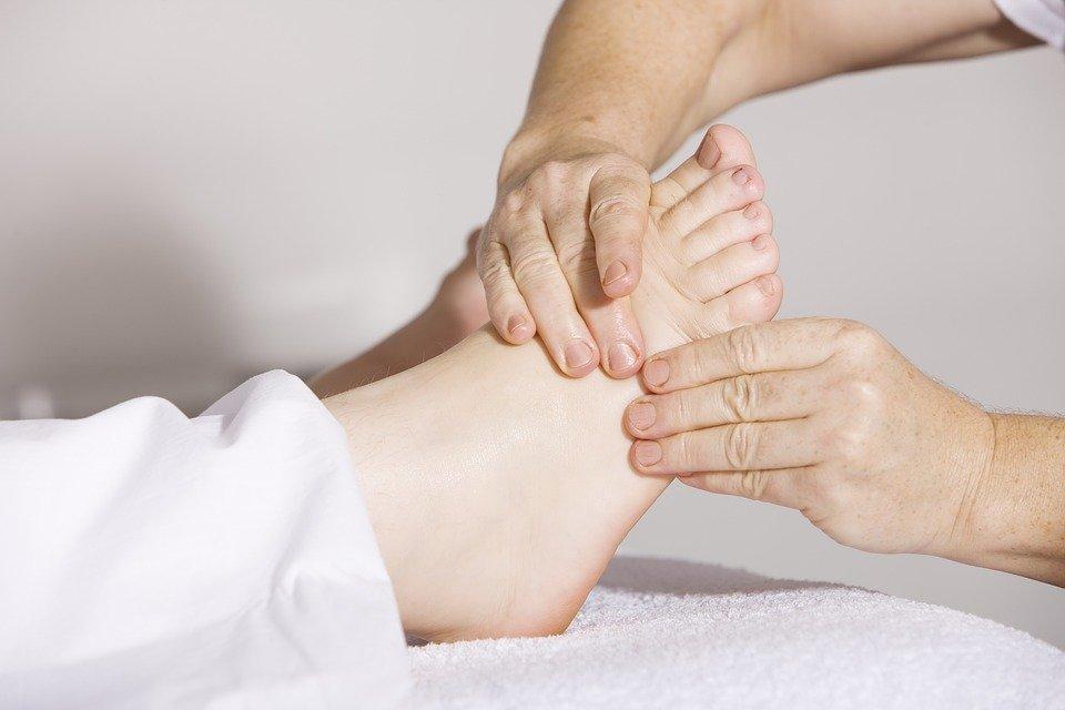 A foot being massaged