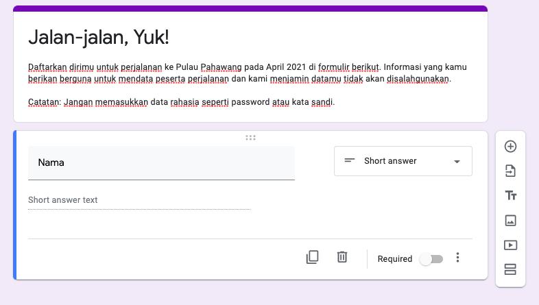 cara membuat google form buat pertanyaan