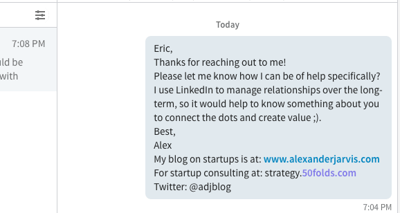 example of how to create an impressive LinkedIn connection request email