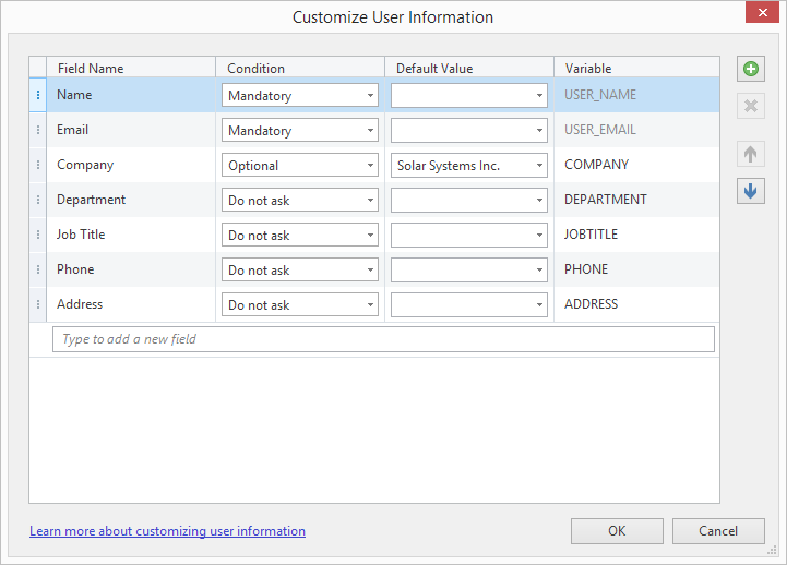 Customize User information window