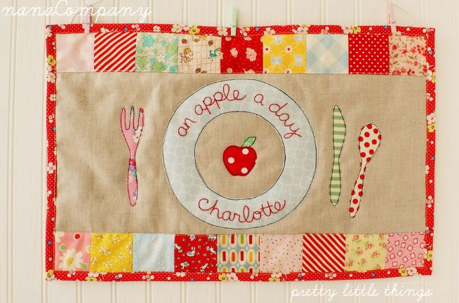 Quilted Placemat Featuring Apple on Plate