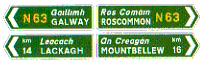 National road direction information signs