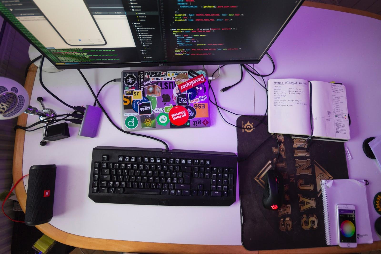 Laptop on a desk.