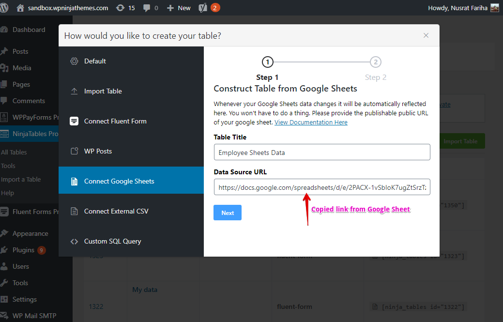 embed Google Sheets into WordPress tables for your website