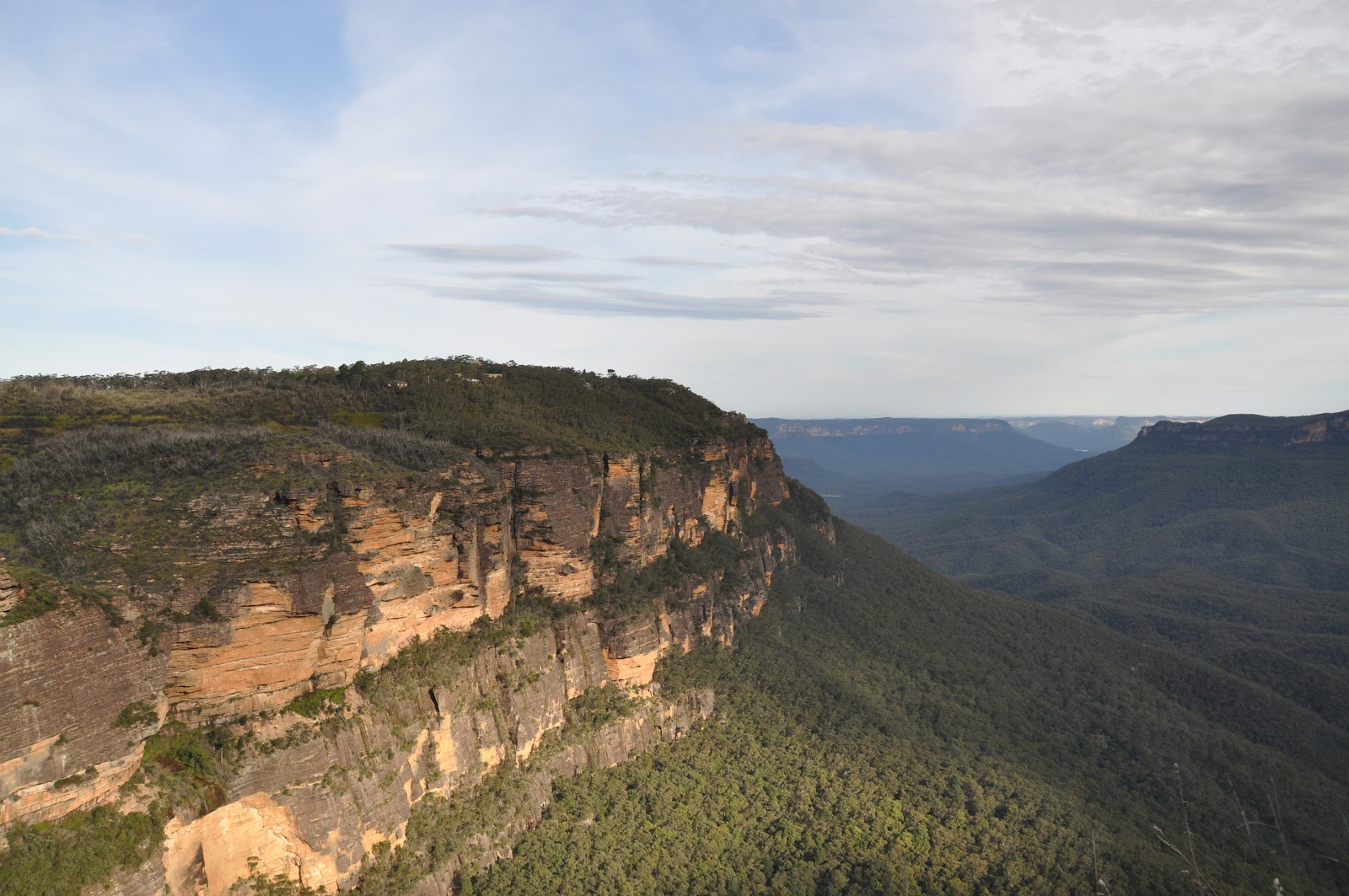aerial view cliff in blue mountains national park nsw australia