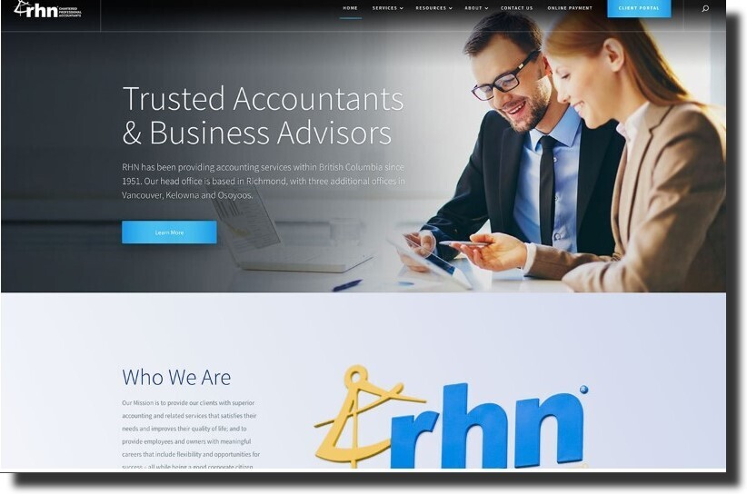 RHN Chartered Professional Accountants Accounting Website Design