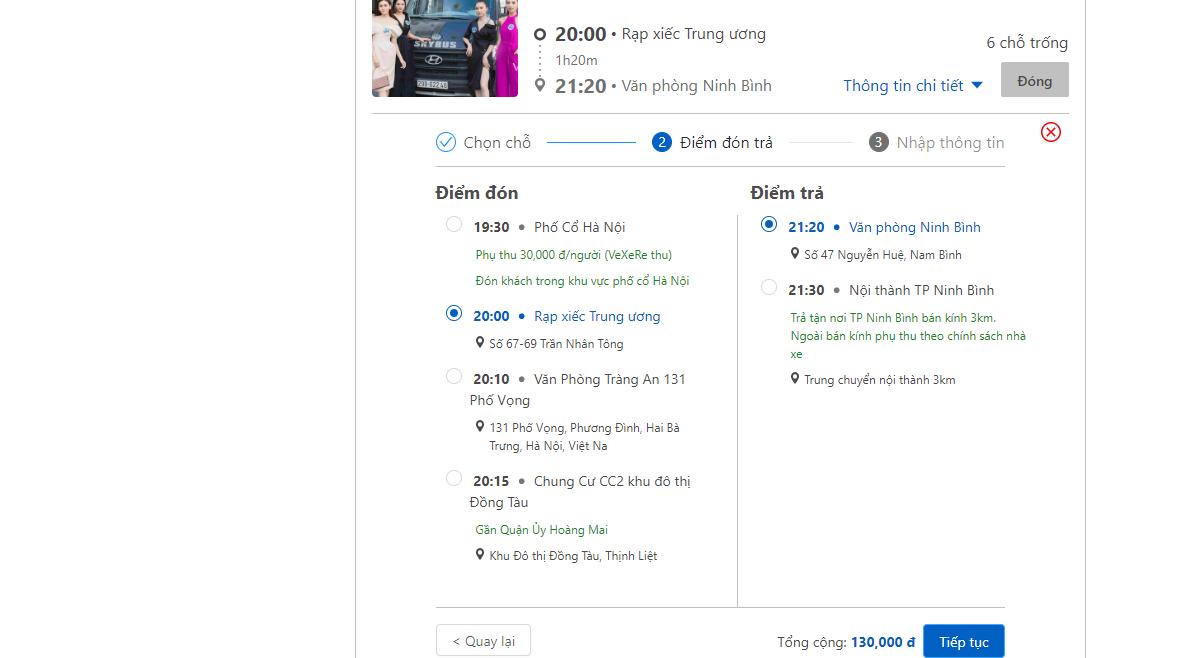 Cách đặt vé xe đi Ninh Bình