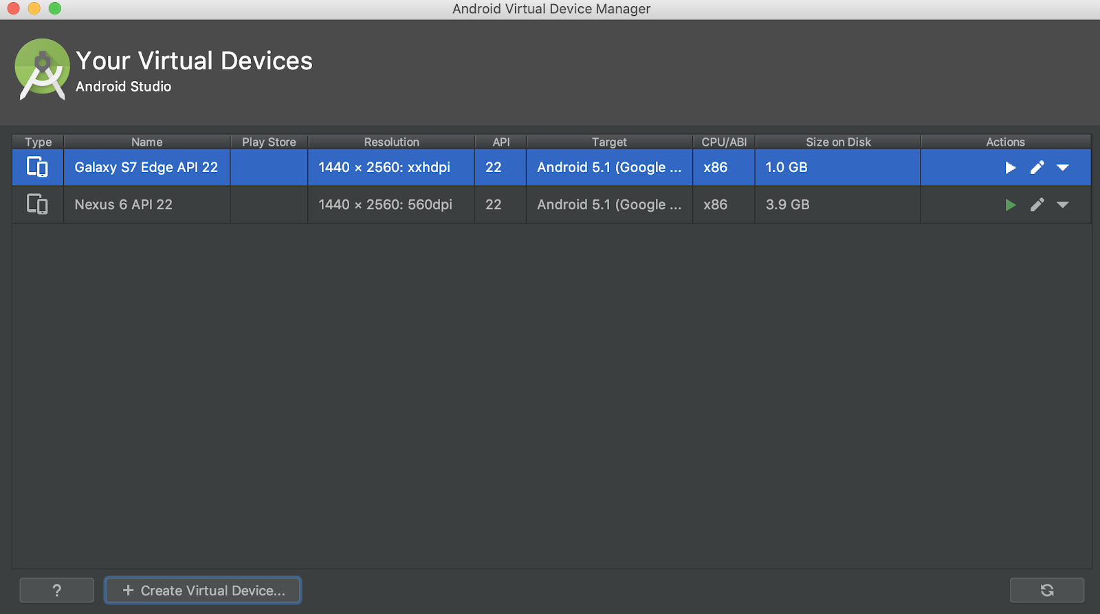Android Studio AVD Galaxy S 추가하기