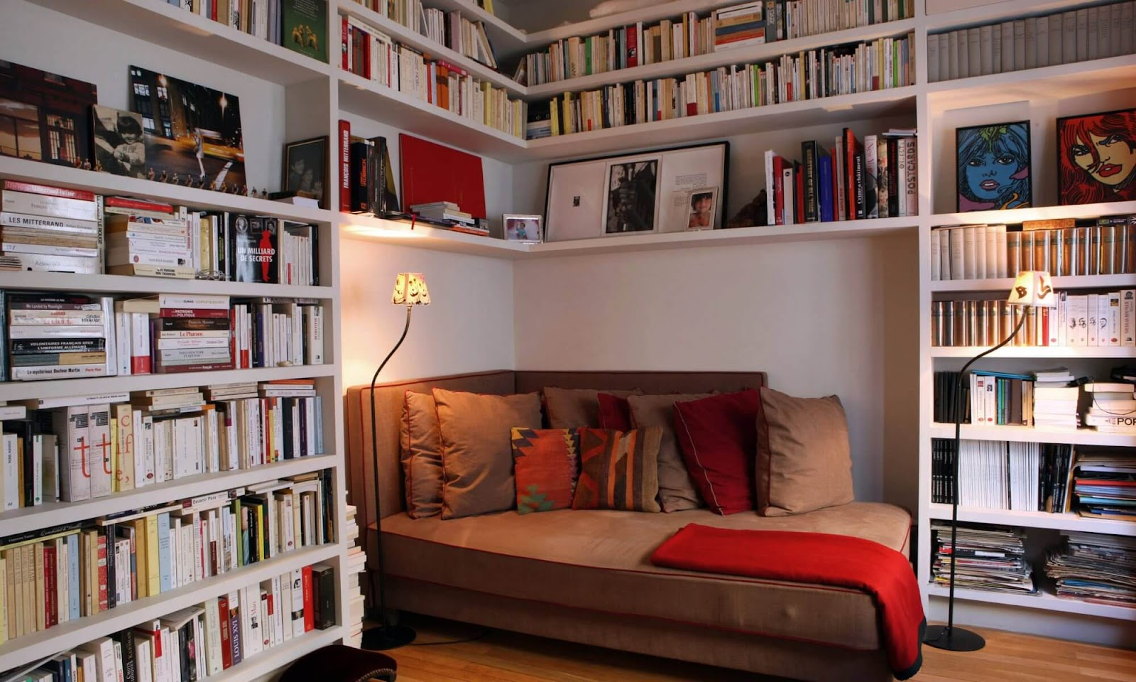 cozy apartment interiors with reading nook