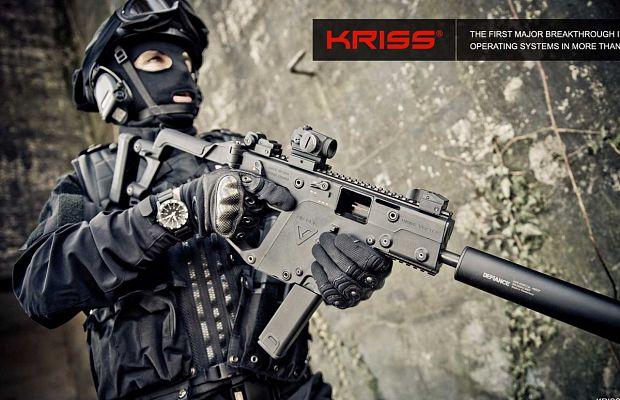 KRISS Vector— пистолет-пулемет, сконструированный так, что отдача вверх уменьшена на95%, аотдача вбок— на60%.