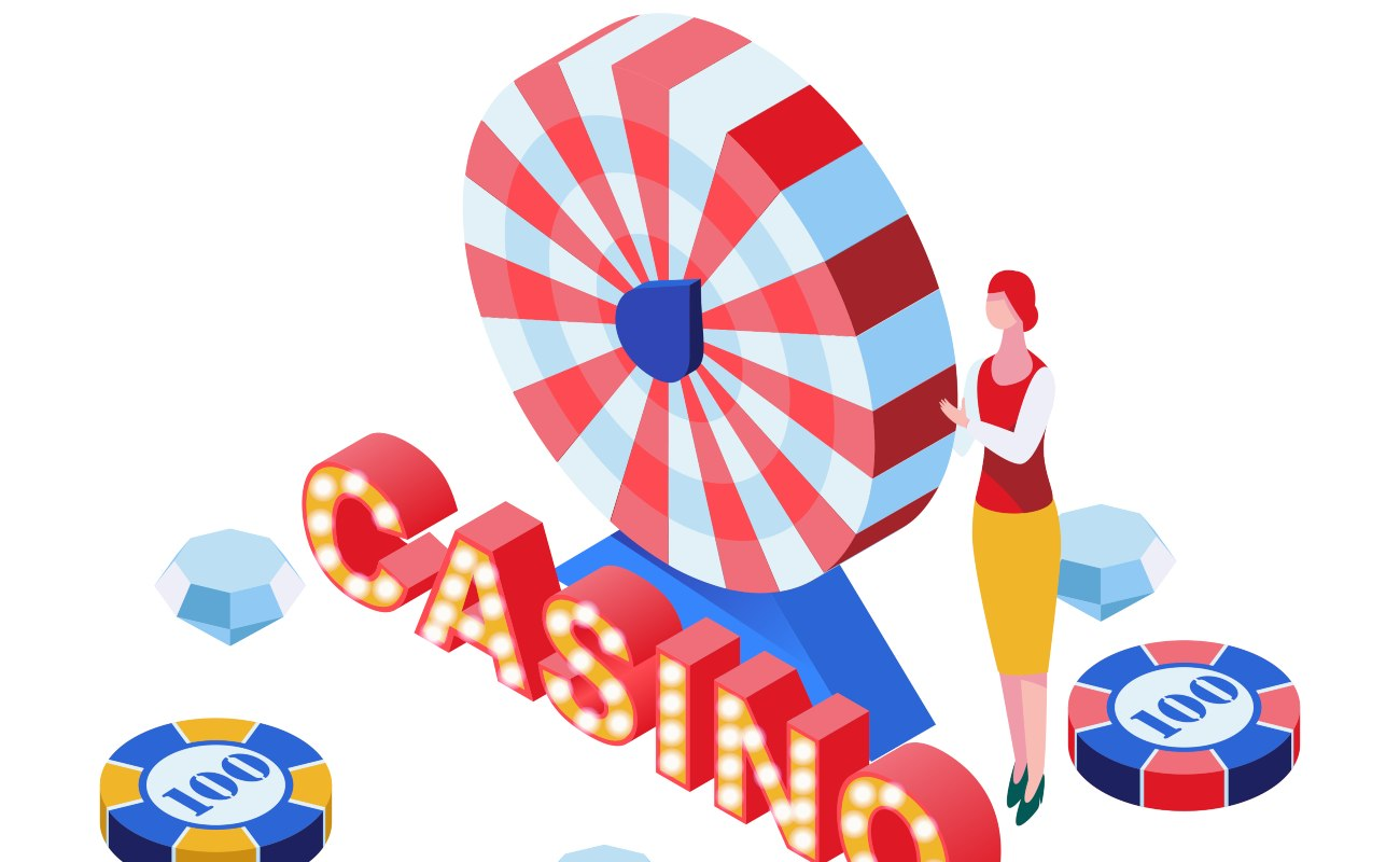 Casino game croupier, poker chips, diamond prizes placed near a roulette striped wheel 3D.