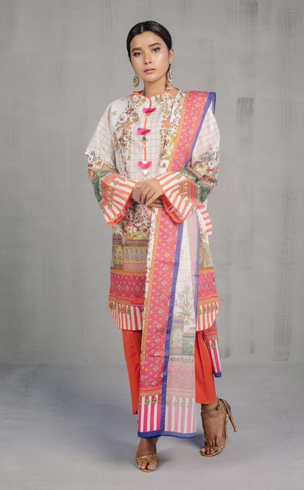 Shirt Dupatta - Rose White - Slub Lawn Suit