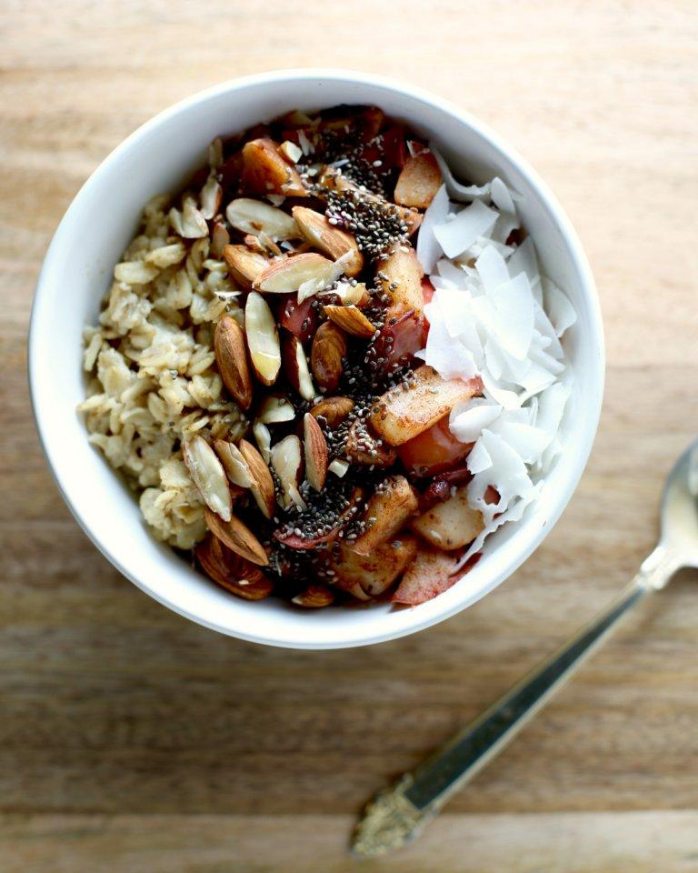 Spiced Apple Oatmeal Breakfast Bowl Top View