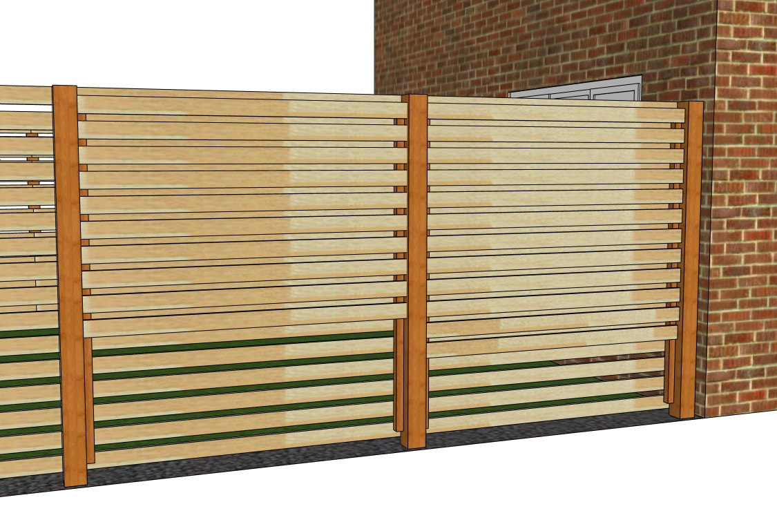 Attaching the rear slats to build a double sided slatted fence.