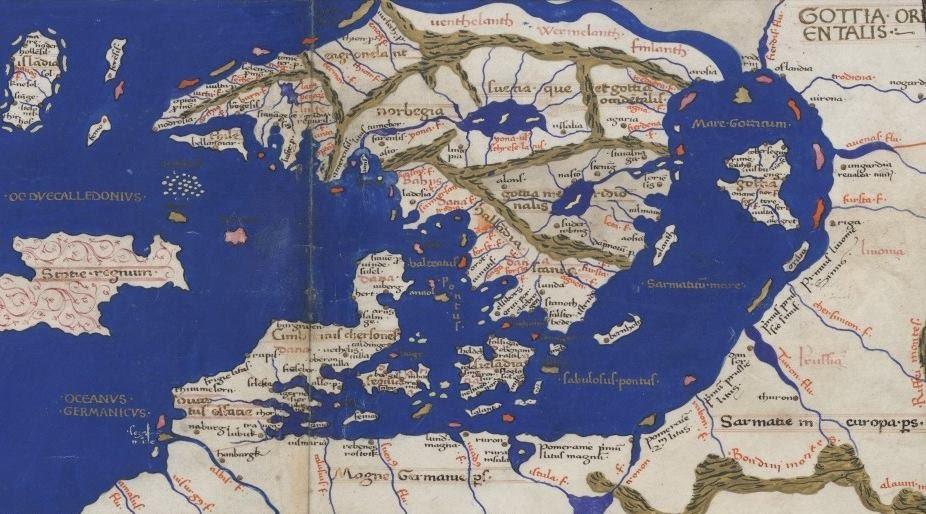 1467 omkr. Skandinavien enl Ptolemaios Geographia