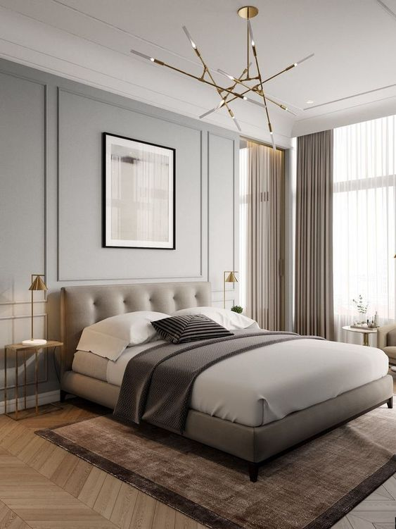 Contemporary Neutral Bedroom Mixed Gold Details